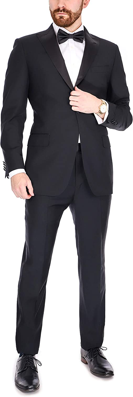 B. Jacket Men's Black 100% Italian Wool Canvassed Regular Fit Tuxedo Suit