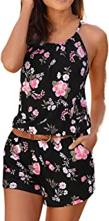 Corriee Rompers for Women Tube Jumpsuit with Pockets Women's Strapless Off Shoulder Printed Short Romper Jumpsuits …