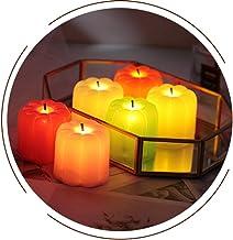 OSALADI 6pcs Halloween Pumpkin Flameless Candle Lights LED Electric Night Light Party Supplies (Black Wick, Mixed Colors)