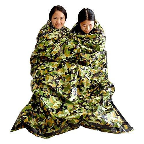 Sac de couchage de survie d'urgence léger étanche compact et isothermique matériel de premier secours idéal pour les activités extérieures telles que le bivouac le camping et la randonnée camouflage