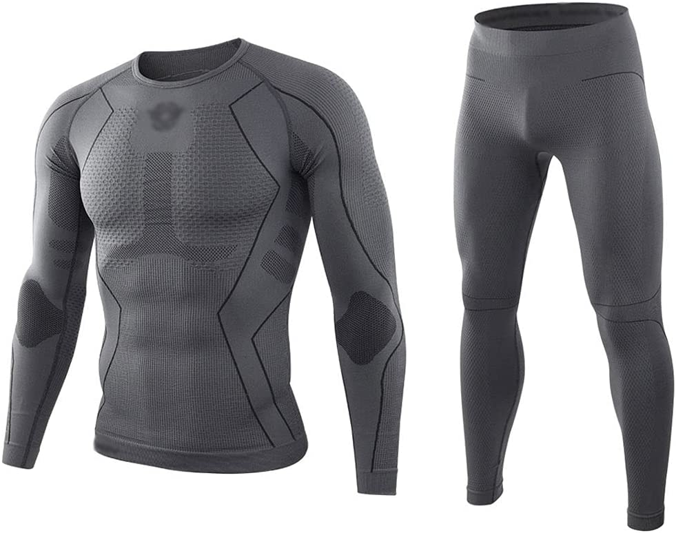 ZSQAW Winter Thermal Underwear Suit, Men Tight Compression Wool Sweat Fast Drying Thermal Underwear Men Clothing (Color : B, Size : XL Code)
