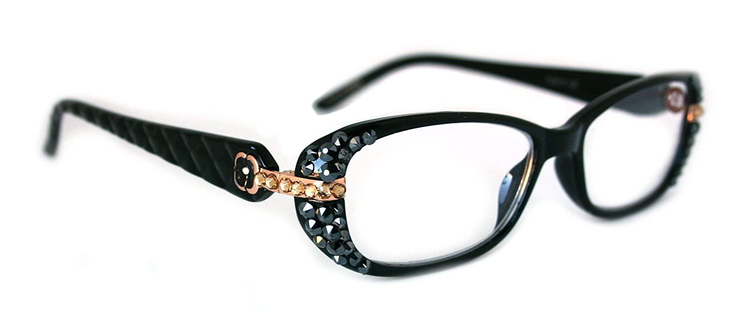 Glamour Quilted Women Reading Glasses Max 76% OFF w Bling Adorned Hematite Latest item