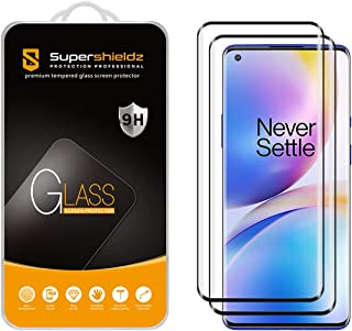 (2 Pack) Supershieldz Designed for OnePlus 8 Pro Tempered Glass Screen Protector, (Full Cover) (3D Curved Glass) Anti Scra...