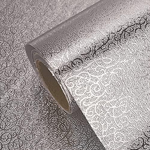Adhesivo De Cocina A Prueba De Grasa, Papel De Aluminio Autoadhesivo Impermeable Para Estufas Que Cubre Papel Tapiz, Papel De Vinilo Plateado Resistente A Altas Temperaturas, 0,6(Size:0.6×2m,Color:B)