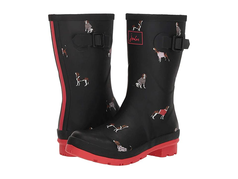 Joules Mid Molly Welly (Black Jumper Dogs) Women