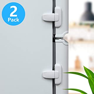 Home Refrigerator Fridge Freezer Door Lock, Latch Catch Toddler Kids Child Fridge Locks Baby Safety Child Lock, Easy to Install and Use 3M Adhesive no Tools Need or Drill(2 Pack, White)