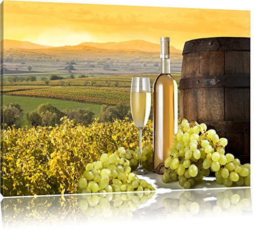 Pixxprint Vines con Bottiglia di Vino e Botte Stampa su Tela 120x80 cm Artistica murale