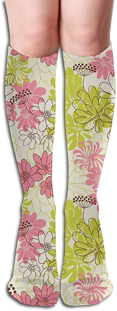 Men's and Women's Funny Casual Combed Cotton Socks,Hand Drawn Pastel Petals in Vivid Contrast Nature Tone Blooming Image