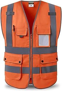 YUFENGBAIHUODIAN Haute visibilité Sécurité Vest réfléchissant Poches Design Vest réfléchissant Sécurité de la Circulation ...