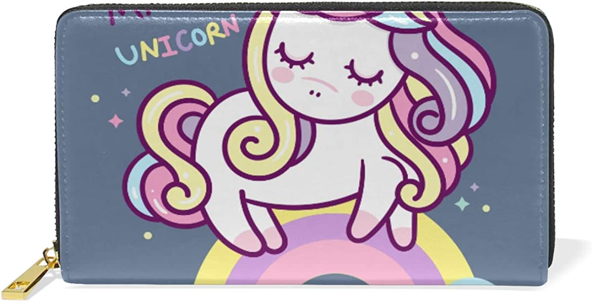 Rainbow Unicorn Beauty Wallet Real Card Leather Credit Hol Attention brand Purse Save money