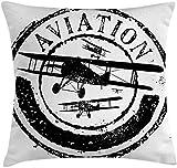 Taie d'oreiller carré Housse de Coussin Decor Avion Vintage, Grunge Stamp Design Mot Aviation Avion Silhouettes, Jet Housse de Coussin taie d'oreiller, Noir Blanc,26x26 inches