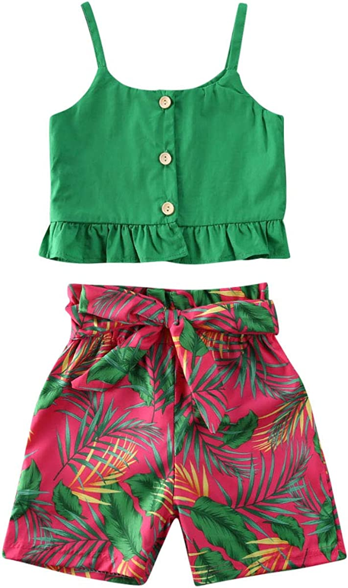 Toddler Baby Girl Floral Clothes Ruffled Strap Crop Top + Bowknot Summer Shorts Outfits Set