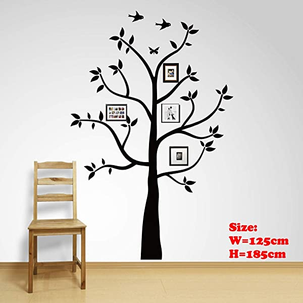 Family Tree Wall Decals Wall Sticker Removable Vinyl Mural Art Wall Stickers Kids Room Nursery Bedroom Living Room Decoration 185cmTall 185X125cm
