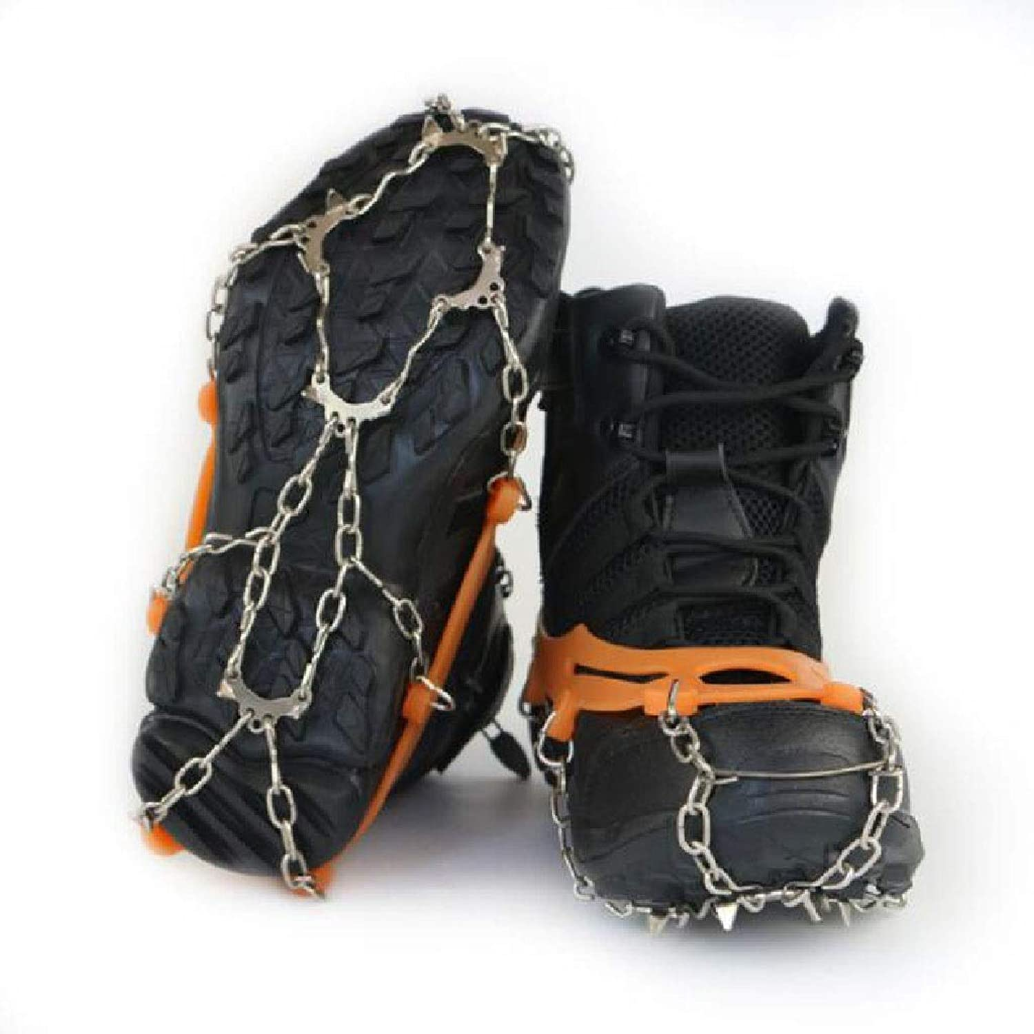 Crampons AntiSkid shoes Covers Snow Climbing Spikes Chain 11 Teeth Simple Outdoor Equipment Ice Caught Ultra Light Snow Claw Snow Chains (color   orange)