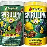 Tropical 1 Liter Spirulina Forte 36% + 1 Liter Spirulina Gran 36% Doppelpack 2 er Set Cichlid Malawi Fischfutter