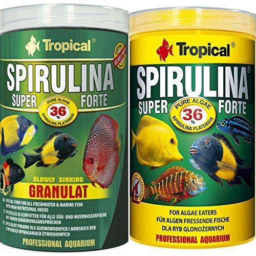Tropical 1 Liter Spirulina Forte 36{daea1f55c575d5dcb36f7f7ead2b2d7f7cc2818b95f8d3d5ddaafb8925228d6e} + 1 Liter Spirulina Gran 36{daea1f55c575d5dcb36f7f7ead2b2d7f7cc2818b95f8d3d5ddaafb8925228d6e} Doppelpack 2 er Set Cichlid Malawi Fischfutter