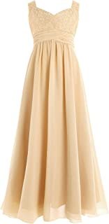 Youth Big Girls Junior Chiffon Lace Wedding Party Bridesmaid Ball Gown Maxi Long Flower Dress