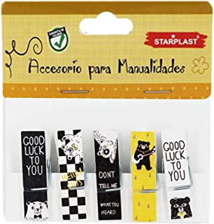 Starplast 132210 - Mini Pinzas de Madera Decoradas, diseños Ositos con Frase, 20 Unidades, Incluye Cuerda de Lino