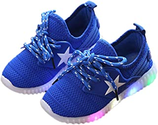 Hopscotch Boys and Girls Mesh Star Print Lace Up LED Sneakers - Blue