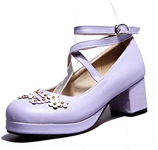 SHANLEE Women's Cute Lolita Cosplay Shoes Strappy Mid Chunky Heel Mary Jane Pumps