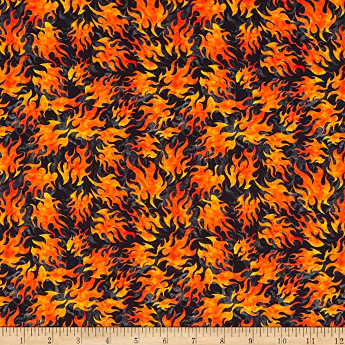 QT Quilt Fabrics Easy Rider Flames Black Quilt Fabric by the Yard (0660358)