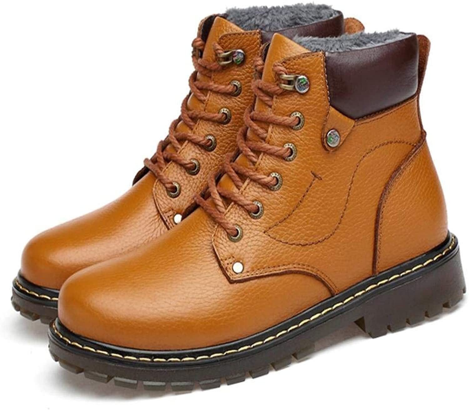 Oudan Winter large size male short boots tooling shoes high imitation leather padded cotton shoes (color   38, Size   Brown)