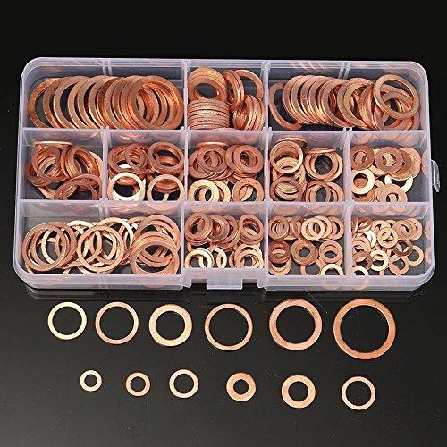100/200/280 piezas de sellado de cobre sólido de la junta de la arandela del sumidero del enchufe de aceite para el barco Crush anillo de sello plano Accesorios de hardware Pack-China, 100Pcs M4-M14