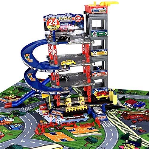 LEAN Toys Parking LOT Garage Voitures 4 Niveaux avec Ascenseur et Grand Tapis