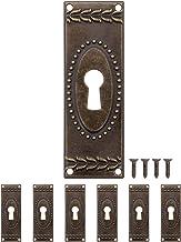 FUXXER® - 6x antieke sleutelborden, slot-rozetten, slot-beslag, afdekking voor sloten, sleutelgat, vintage messing brons j...