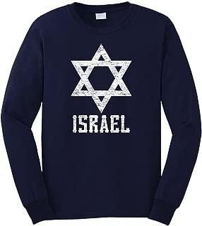 Men's White Israel Star Long Sleeve T-Shirt