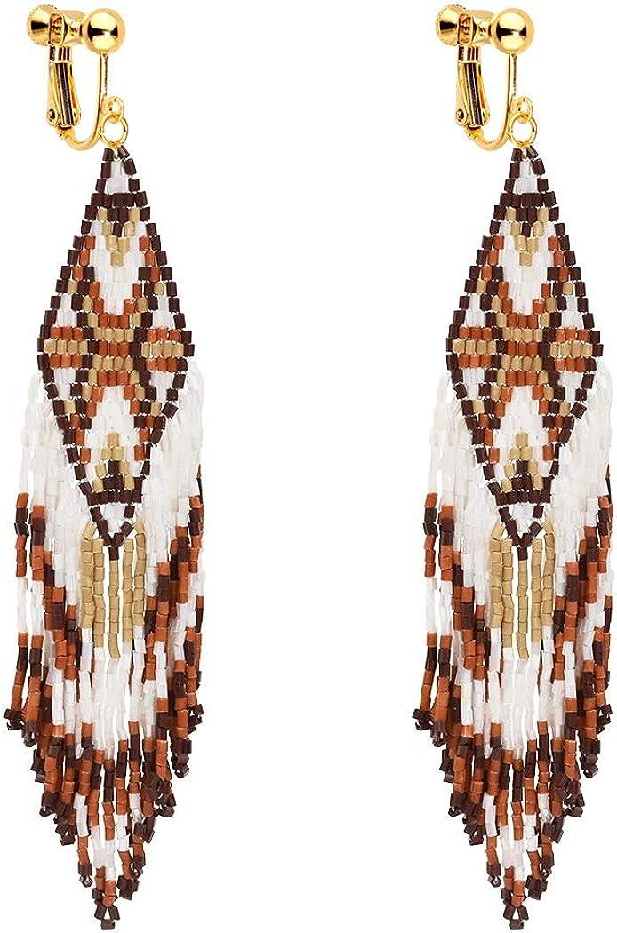 Clip on Dangle Seed Beaded Earrings Bohemian Long Tassel Boho Women Girls Fringe Handmade Navajo Indian