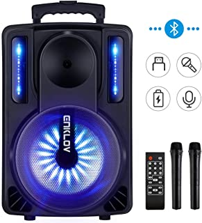 $195 » Karaoke Machine, ENKLOV Portable Wireless Karaoke Bluetooth Speaker System, 2 Microphones Sing Karaoke Machine for Kids & Adults, Work with MP3 USB Micro SD FM Radio in AUX Wheel, Light Sync to Music