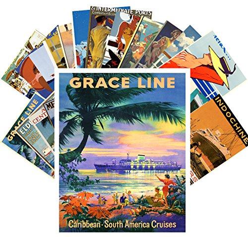 Postcard Set 24 cards Vintage Travel Posters Ocean Cruises Sea Liner