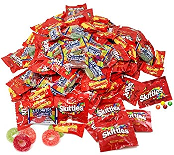 Assorted Bulk 5.49 Lb Starbursts Skittles Lifesavers Big Ring Gummies Skittles Candy Holiday Gifts Candies 180+ Pcs  88 Oz