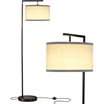 Brightech Montage Modern - Floor Lamp for Living Room Lighting - Bedroom & Nursery Standing Accent Lamp - Mid Century, 5' Tall Pole Light Overhangs Reading - with LED Bulb - Black