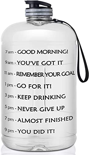 FRETREE Gallon Water Bottle Portable Water Jug - Fitness Sports Daily Water Bottle with Motivational Time Marker, Leak-Proof Gym Bottle for Outdoor Camping(1 Gallon/73 oz) product image