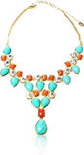 Dune Statement Bib Necklace, Turquoise/Coral