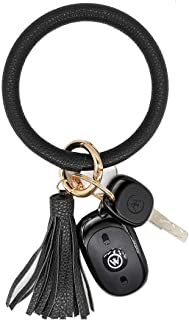 AnnabelZ Keychain Bracelet Wristlet Big Bangle Key Holder Round O Keyring Leather Tassel Key Ring Chain for Women Girls