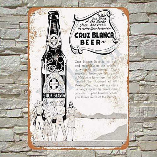 Kilburn 1941 Cruz Blanca Cerveza Mexicana Retro Creativa Decoración de Pared Personalidad Trend Fondo Simple Estilo Pintura de Hierro