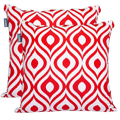 iBeani Stylish, Premium Quality, UK Made Showerproof Garden Cushion Outdoor Scatter 40cm x 40cm (Pack of 2), Red