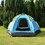 F&zbhzy Tente Tente de Camping pour 3 à 5 Personnes avec Tente de yourte mongole Anti-UV à 2 fenêtres et 4 fenêtres, Grande Tente Touristique 305x264x145cm, Bleu