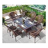 WANGQW Conjunto de bistró de ratán con sillas de Mesa de Sets de Muebles de jardín de ratán Conjuntos de Patio y sillas Conjuntos de Vidrio Mesa de café conversación de Mesa de café Patio