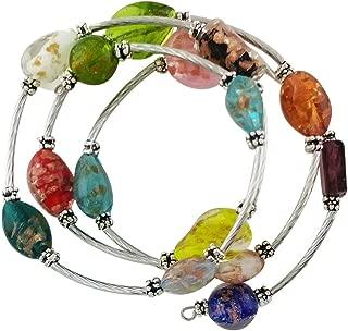 Italian Style Murano Glass Jewelry for Women w Multi-Colored Glass Blown Beads with Flecks of Gold. | Memory Bracelet