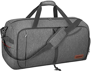 65L Travel Duffel Bag, Foldable Weekender Bag with Shoes Compartment for Men Women Water-proof & Tear Resistant (Gray, 85L)