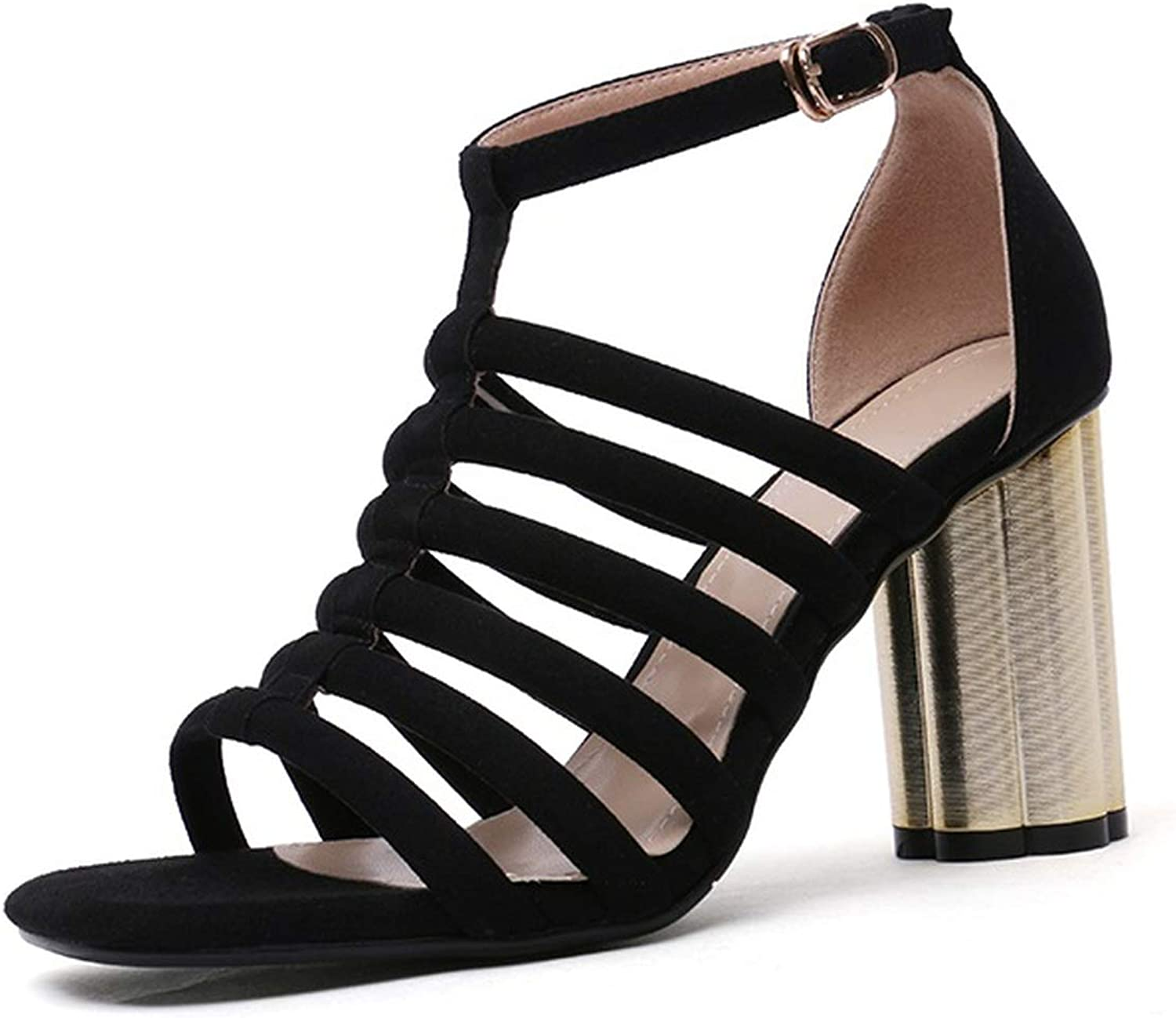 2019 New Suede Genuine Leather Gladiator Sandals Women shoes Cut Outs Thick high Heels Sandals Ladies shoes Female