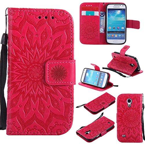 KKEIKO Hülle für Galaxy S4 Mini, PU Leder Brieftasche Schutzhülle Klapphülle, Sun Blumen Design Stoßfest HandyHülle für Samsung Galaxy S4 Mini - Rot