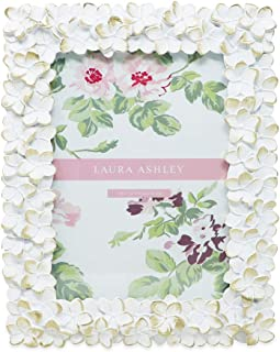 Laura Ashley 5x7 White & Gold Flower Textured Hand-Crafted Resin Picture Frame w/Easel & Hook for Tabletop & Wall Display, Decorative Floral Design Home Décor, Photo Gallery, Art (5x7, White/Gold)