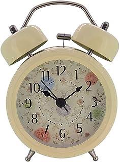 Konigswerk 3'' ミニ ラウド 目覚まし 時計 非 ティック クォーツ 付 大き 目覚まし 時計 ナイトライト (ベージュ) AC052G