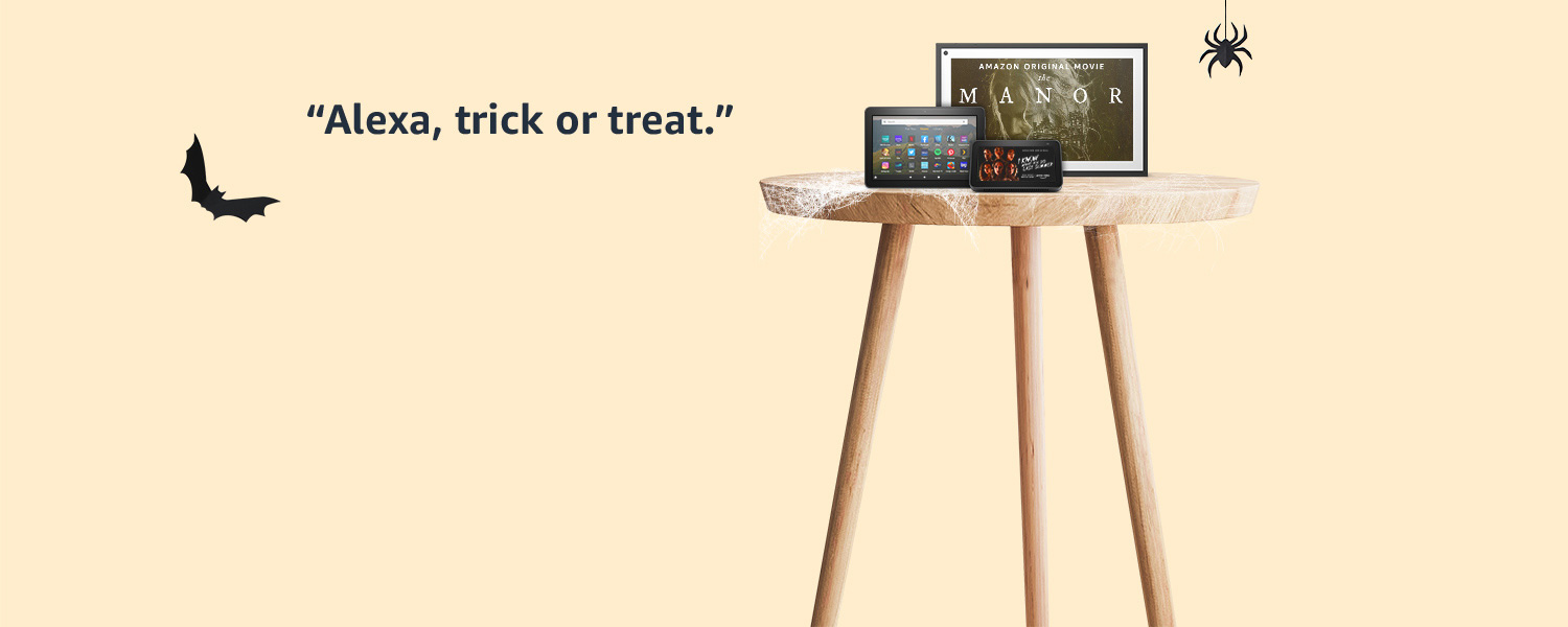 Alexa, trick or treat along with a group of devices across Echo, Tablet, and Fire TV.
