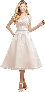 Short Wedding Dress Evening Gown Tea-Length Cap Sleeves Applique